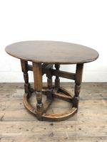 Unusual Antique Oak Oval Top Table (5 of 12)