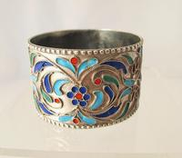 Pretty Imperial Russian Silver & Cloisonné Napkin Ring Moscow c.1890 (4 of 6)