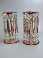 Magnificent Pair of Mid 19th Century Candle Lustres 'Possibly Baccarat' Gilded & Ruby Decoration (3 of 18)