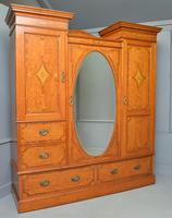 Stunning Victorian Satinwood & Marquetry Compactum Wardrobe (14 of 24)