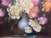 Large Oil on Canvas Bowl of Roses Signed (free Shipping to Mainland England (3 of 12)