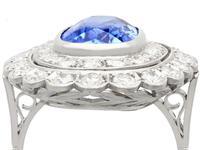 6.25 ct Ceylon Sapphire & 3.75ct Diamond, Platinum Dress Ring c.1930 (2 of 12)