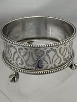 Large Victorian Antique Silver Salt Cellar & Spoon 1861 London Richards & Brown (7 of 10)