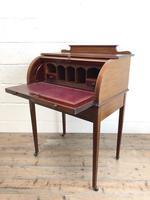 Antique Edwardian Mahogany Inlaid Cylinder Top Desk (12 of 14)
