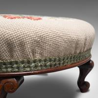 Small Antique Footstool, English, Walnut, Needlepoint Tapestry, Early Victorian (11 of 12)