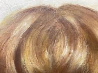 """20th Century Oil Painting Portrait Girl With Curly Hair """"The Happy Smile"""" (8 of 19)"""