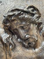 Pair of Antique Belgium Ecclesiatical Mary & Jesus Wall Plaster Plaque Sculptures (6 of 18)
