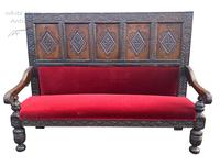 Exceptional Large Antique Carved 18th Century English Oak Settle, Hall Seat, Pew