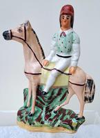 Pair of Antique English Victorian Staffordshire Pottery Figures of Mounted Jockeys ~ H 3312 / H 3313 (7 of 12)