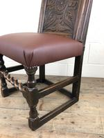 Early 18th Century Carved Oak Chair with Leather Seat (M-192) (10 of 10)