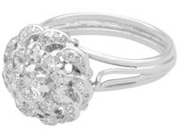 1.39ct Diamond & 18ct White Gold Cluster Ring - Vintage c.1950 (3 of 9)
