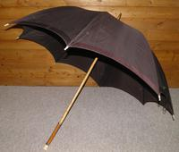 Antique Gold Plate Horse Carriage Driving Umbrella W/ Brown Canopy & Carved Top (10 of 15)