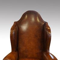 Antique Carved Walnut Leather Wing-back Chair (4 of 12)