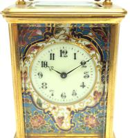 Superb French 8 Day Champleve Carriage Clock Cylinder Platform, Working c.1900 (10 of 12)