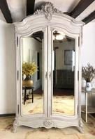 French Armoire Wardrobe Linen Cupboard Painted in Weathered Grey