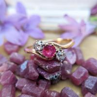 Vintage 18ct Gold Ruby & Diamond Trilogy Ring