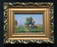 'Josef Harencz' Gypsy Camp Horse & Cart Oil Painting
