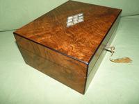 QUALITY Inlaid Figured Walnut Jewellery Box + Tray c.1870 (6 of 14)