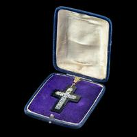 Antique Victorian Micro Mosaic Cross Pendant Forget Me Nots c.1860 Boxed (5 of 7)