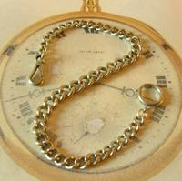 Antique Pocket Watch Chain 1890s Victorian Large Silver Nickel Graduated Link Albert (2 of 10)