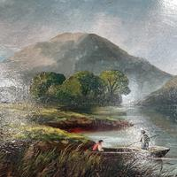 Antique Scottish Landscape Oil Painting of Punters on Loch by T Haywood c.1870 (5 of 10)