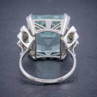 Art Deco Aquamarine Diamond Ring Platinum 25ct Emerald Cut Aqua c 1930 (2 of 5)