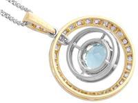 0.79ct Aquamarine, 0.31ct Diamond & 9ct Yellow Gold Necklace - Antique c.1910 (5 of 9)