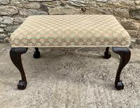 Large Antique Upholstered Ball & Claw Foot Stool