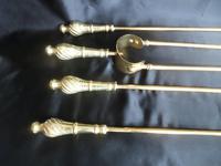 Brass Long Fireside Companion Set 1910s (5 of 5)