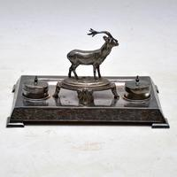 Antique Silver Plate Stag Inkwell Stand by  James Deakin (7 of 8)