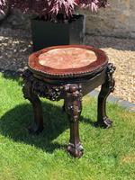 Chinese Hongmu Jardinière or Side Table with Marble Inset, Antique (15 of 16)