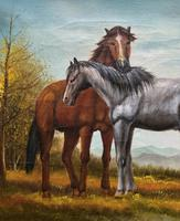 Original Signed 20th Century Vintage Horse & Foal Equestrian Oil on Canvas Painting (5 of 10)