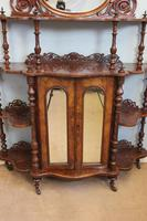 Antique Victorian Burr Walnut Display Whatnot Side Cabinet (7 of 13)
