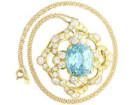 22.32ct Aquamarine, 7.62ct Diamond & 18ct Yellow Gold Pendant - Vintage c.1950 (2 of 9)
