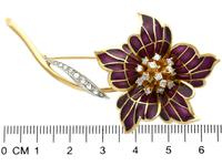 0.47ct Diamond & Plique a Jour Enamel, 18ct Yellow Gold Brooch - Vintage 1954 (7 of 9)