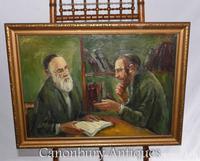 Oil Painting Jew and Rabbi Portrait Antique Yiddish Judaic Art 1930 (8 of 9)