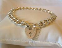 "Vintage Sterling Silver Bracelet 1978 Heart Padlock 7 1/2"" Length 20.7 Grams"