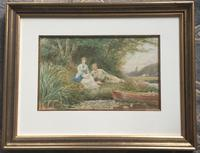 Ebenezer Wake Cook Watercolour - Summers Afternoon on the River (2 of 2)