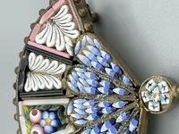 Micro Mosaic Fan Shaped Brooch (3 of 11)