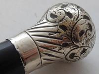 1924  Walking Stick Cane Hallmarked Solid Silver Pommel Ebonised Wood Shaft (6 of 9)