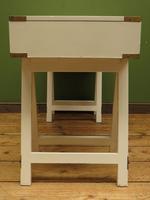 Vintage Scandi Boho White Campaign Style Desk with Trestle Legs (16 of 17)