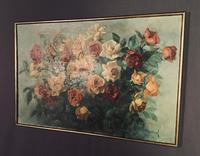 Signed Early 20th Century Large French Oil on Canvas Bouquet of Roses (4 of 8)
