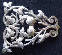 Victorian 1887 Hallmarked Solid Silver Nurses Belt Buckle Rare Hand Cut Design (4 of 11)