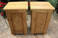 Fabulous! Pair of Old Stripped Pine Bedside Cabinets / Cupboards - We Deliver! (9 of 9)
