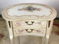 Vintage French Shabby Chic Kidney Shaped Floral Bedside Cabinets (8 of 8)