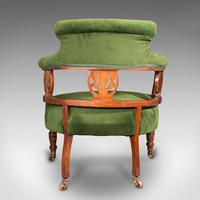 Antique Tub Chair, English, Velvet, Mahogany, Elbow, Seat, Edwardian c.1910 (6 of 12)