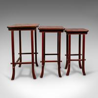 Antique Nest of 3 Occasional Side Tables, Oriental, Japanned, Victorian c.1900 (6 of 12)