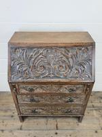 Early 20th Century Oak Carved Bureau (2 of 10)