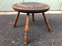 Arts & Crafts Oak & Leather Stool (6 of 7)
