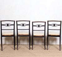 4 Regency Ebonised Dining Chairs Trafalgar (2 of 12)